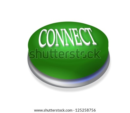 3d connect connection button green - stock photo