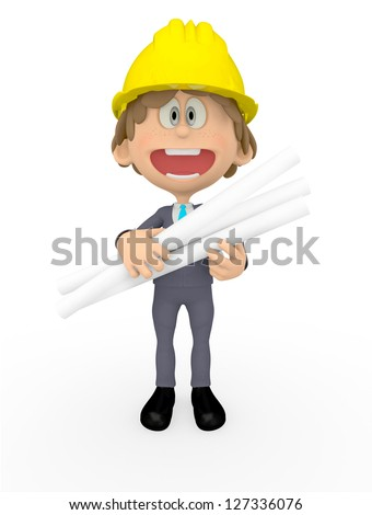 3D construction worker holding blueprints - isolated over white