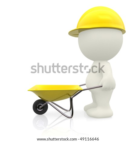 3D construction worker with a wheelbarrow - isolated over a white background - stock photo
