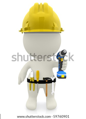 3D construction worker with tools - isolated over a white background - stock photo