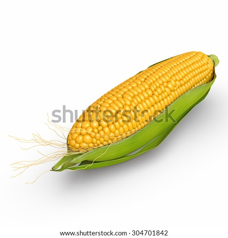 3d corn isolated on a white background
