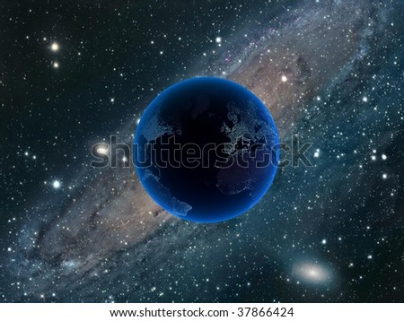 3d cosmos and planet - stock photo
