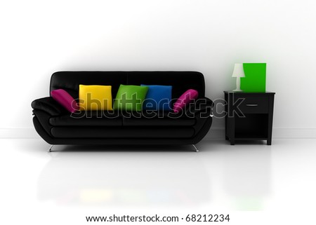 3d couch and a room with white walls and floor - stock photo