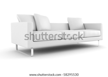3d couch  isolated on white - stock photo