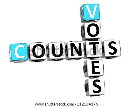 3D Counts Votes Crossword on white background - stock photo