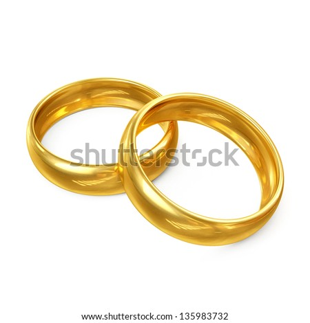 3D Couple of Wedding Rings Isolated on White Background - stock photo