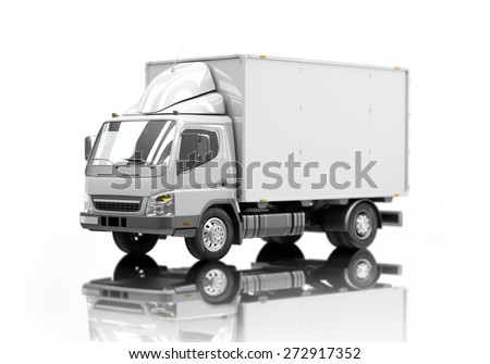 3d courier service delivery truck icon with blank sides ready for custom text and logos. Shallow depth of field - stock photo
