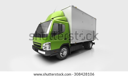 3d courier service delivery truck in studio - stock photo