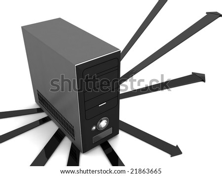 3D cpu with arrows - stock photo