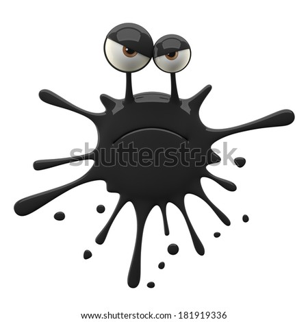 3d crazy monster, humorous advertising supplement isolated on white background for crop and free use, colored bacteria, cute smiley, splash, happy stain - stock photo