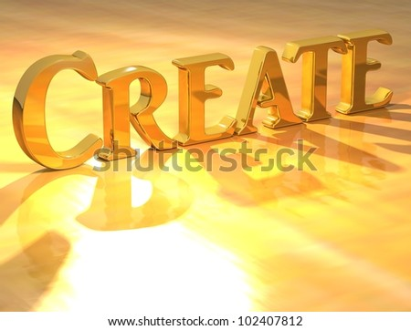 3D Create Gold text over yellow background - stock photo