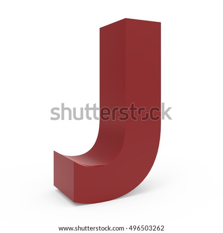 3d crimson left leaning font J, 3D rendering graphic isolated white background