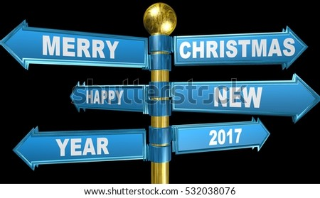 3d crossroads,Merry Christmas and Happy New Year,illustration