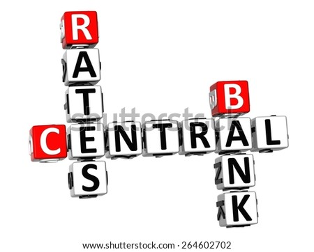 3D Crossword Central Bank Rates on white background - stock photo