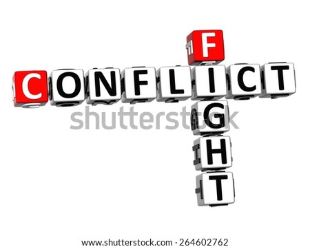 3D Crossword Conflict Fight on white background - stock photo