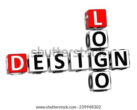 3D Crossword Design Logo on white background  - stock photo