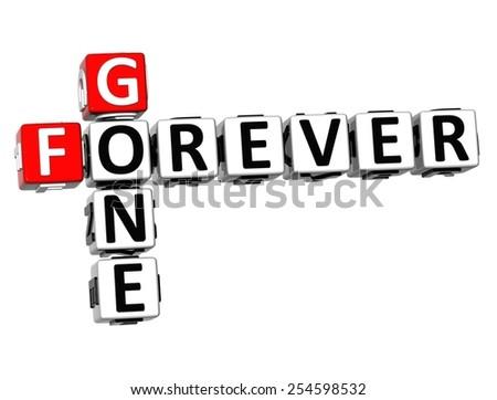 3D Crossword Forever Gone on white background - stock photo