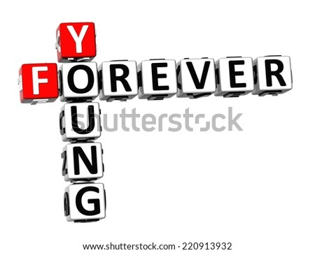 3D Crossword Forever Young on white background - stock photo