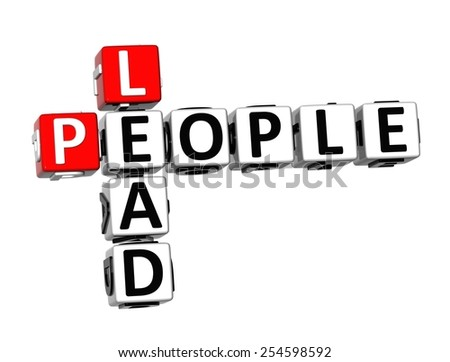 3D Crossword Lead People on white background - stock photo
