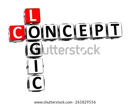 3D Crossword Logic Concept on white background - stock photo