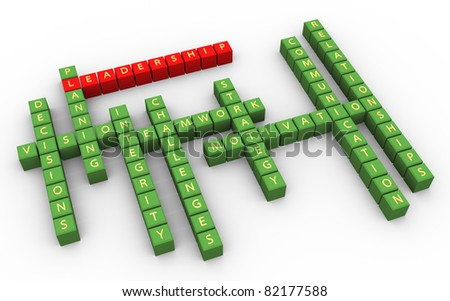 3d crossword of outstanding leadership skills - stock photo