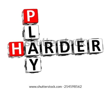 3D Crossword Play Harder on white background - stock photo