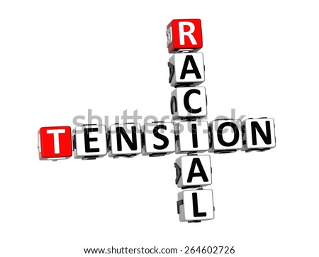 3D Crossword Racial Tension on white background - stock photo