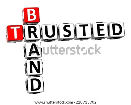 3D Crossword Trusted Brand on white background - stock photo