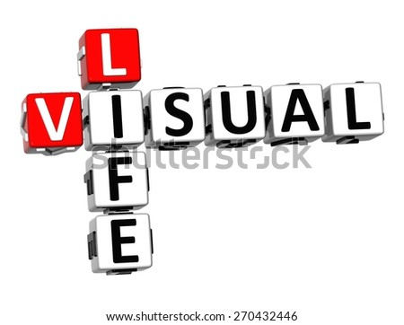 3D Crossword Visual Life over white background. - stock photo