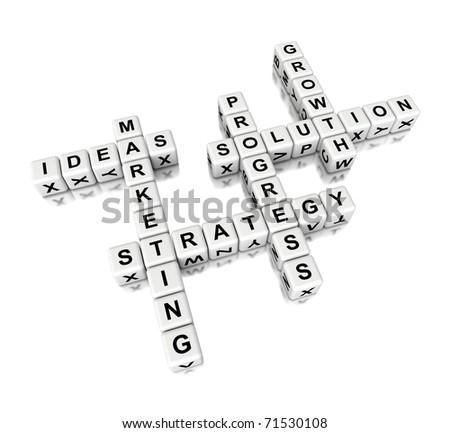 3d crossword with marketing theme - stock photo