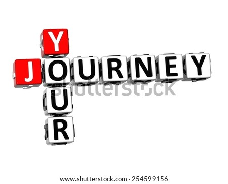 3D Crossword Your Journey on white background - stock photo