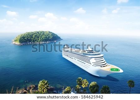 3D Cruise Ship by an Island - stock photo