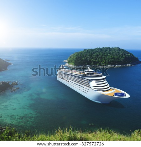 3d Cruise Ship Vacation Holiday Summer Illustration Concept - stock photo