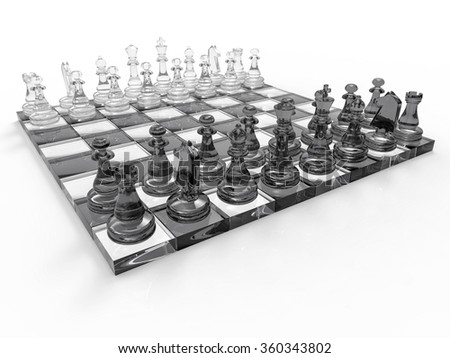 3D Crystal Chess Background. Isolated Game Illustration.