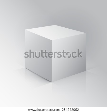 3D Cube. Box on white background with reflection. - stock photo