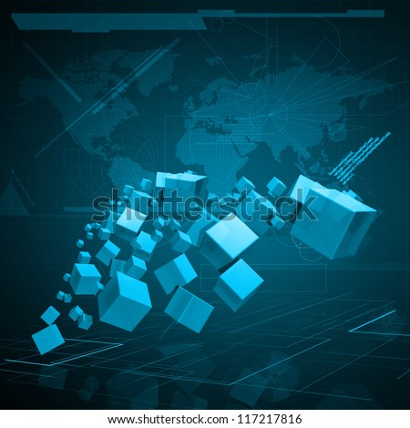 3D cube on virtual digital environment Background - stock photo