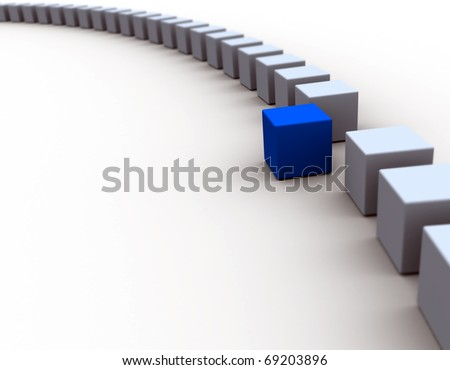 3D cube / Standing Out From The Crowd Concept - stock photo