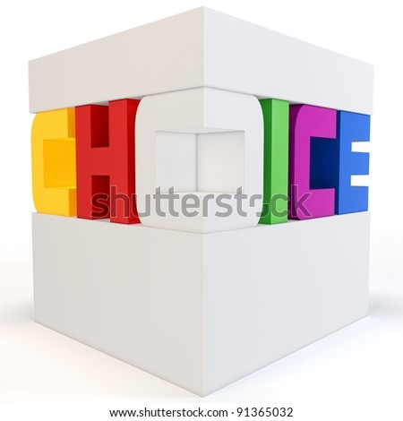 3d cube with colorful choice text on white background - stock photo