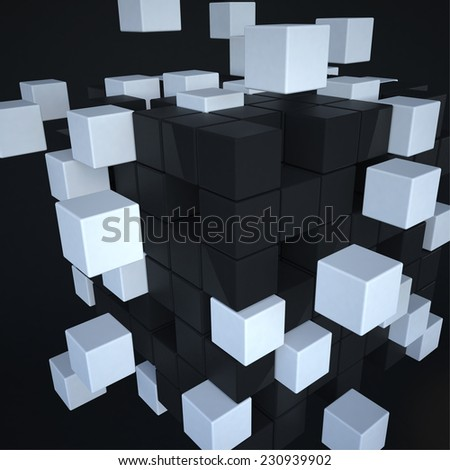 3d cubes explosion puzzle on black background - stock photo