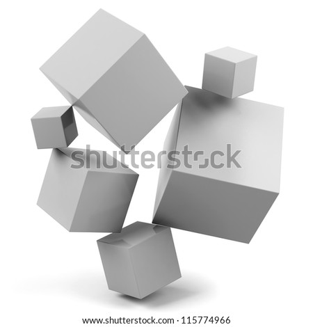 3d cubes isolated on a white - stock photo