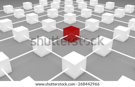 3D cubes network. Standing out from the crowd or network concept.