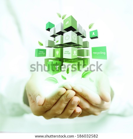 3d cubes on hands - stock photo