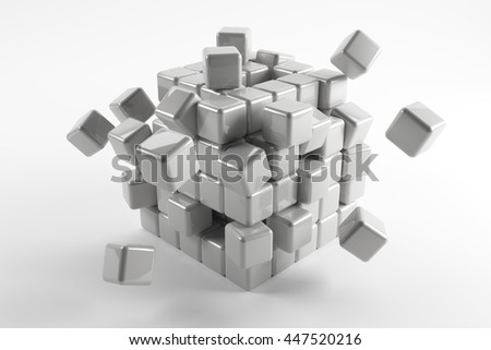 3d cubes scatter in different directions. Abstract reflected objects
