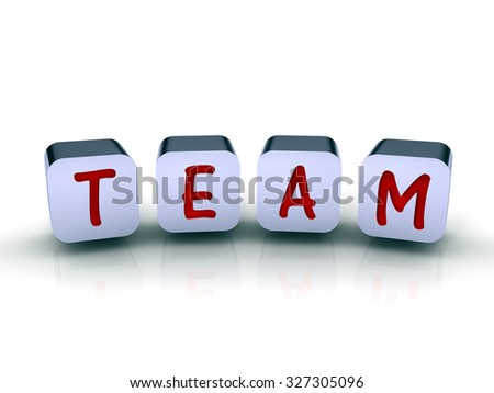 3D cubes with the word TEAM