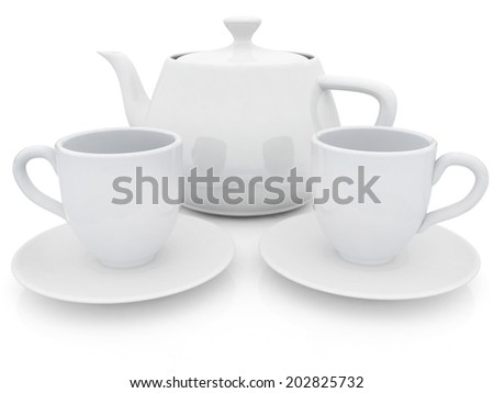 3d cups and teapot on a white background - stock photo
