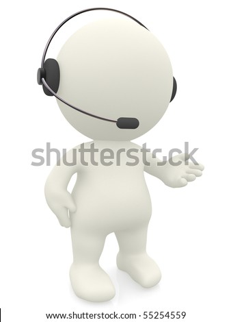 3D customer support operator with a headset - isolated over white - stock photo