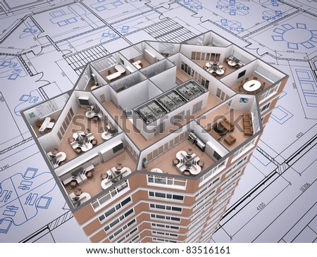 3D cut of office building on architect's drawing. - stock photo
