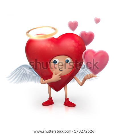 3d cute funny heart cupid cartoon character isolated on white, Valentines Day clip-art
