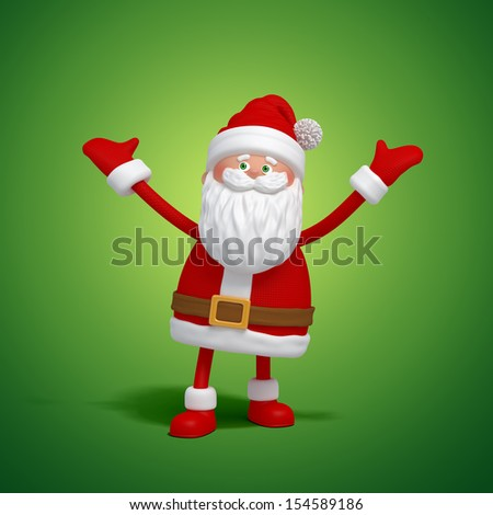3d cute funny Santa Clause character celebrating Christmas - stock photo