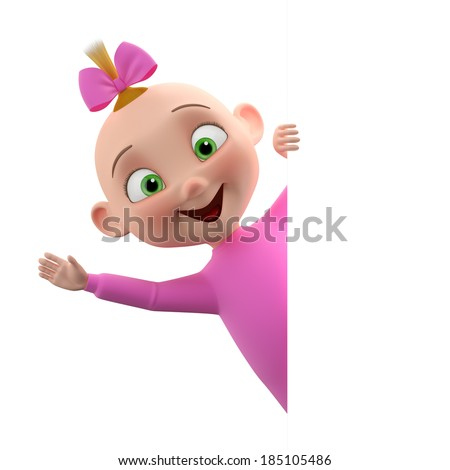 3d cute girl character, cheerful toddler in pajamas, a beautiful baby icon isolated on a white background - stock photo